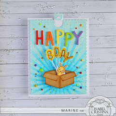 Isabel Cristina Stamps - Birthday Bunny - Pull Tab Card (Marine Simon) Tags: handmade cardmaking carterie papercraft icstamps isabelcristinastamps pulltab distressink spectrumnoir