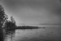 Arrival of the Rain. (A.Koponen) Tags: canon eosr rf24105mm rf24105mmf40 misty lake spring kuopio finland suomi sky day bw moody dark shade