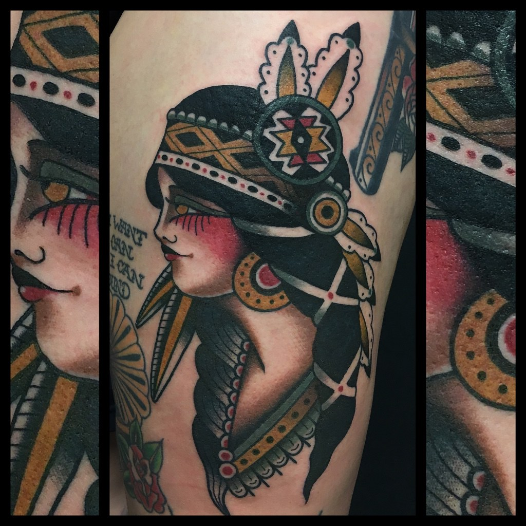 84f3807e4 Indian lady traditional tattoo by Dap at Skingdom Tattoo (Dap Skingdom  Tattoo Shop) Tags