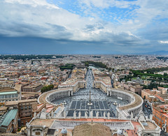 Aerial view St Peter Square (Piazza San Pietro) (phuong.sg@gmail.com) Tags: aerial architecture building cathedral catholic catholicism christian church circle city cityscape dome downtown editorial egyptian enclave europe famous holy italy landmark landscape large monument obelisk outdoor panorama peter piazza pietro pillar religion roma roman rome sacred saint sightseeing square st statue top tourism tourist travel urban vatican view