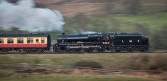 """Epic beauty, perfect proportion: The Black Five is one of England's most-beloved steam locomotive designs. LMS #5428 """"Eric Treacy"""" shows why on the climb up the 1-in-100 grade a mile-and-a-quarter south of Goathland. (blair.kooistra) Tags: northyorkshiremoorsrailway steam railway england britain heritagerailways locomotive northyorkmoors goathland whitby grosmont lms lner southernrailway"""