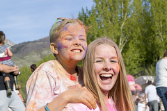 Aftermath of the Color Run (aaronrhawkins) Tags: color run celebration kids children boy girl teen teenager smile laugh happy chalk canyoncrest elementary school playground spring springtime fundraiser provo utah blonde multicolored mess messy dirty gerstner aaronhawkins