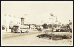c. 1948 Real Photo Postcard - Buses stopping for Sevice near Giesebrecht's Pepsi Cola Plant at Petawawa, Ontario (Treasures from the Past) Tags: giesebrechtsltd bus petawawa ontario postcard realphoto pembroke canada