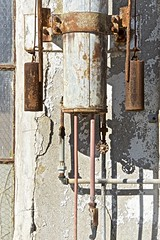 Plumbing and Shadow Sculpture Detail (sswj) Tags: rust shadow plumbing pipes netdepot navalnetdepot wwiiera sculpture abstractreality dslr fullframe viewfullscreen nikon d600 nikkor28300mm scottjohnson availablelight existinglight naturallight composition tiburon marincounty northerncalifornia california weathered historic
