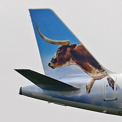 A320.N347FR-tail (Airliners) Tags: frontier frontierairlines 320 a320 a320neo airbus airbus320 airbusa320 airbusa320neo steer longhornsteer lonestarthelonghornsteer iad n347fr 51119