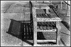 the old bench, Pett Level. (tony allan tony allan) Tags: seat bench mono nikond3200 blackandwhite timber wood restingplace