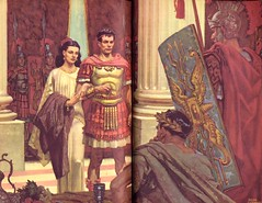 The Robe: Trial of Marcellus and Diana (karadogansabri) Tags: therobe lloydcdouglas deancornwell illustration art romanempire rome marcellus diana caligula roman romans crucifixion jesuschrist trial