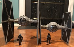 Tie Fighter Duel - TVC vs Force Link 2.0 - both designs are a bit different as the Force Link version is a new mold and TVC is retooled from a prior release. (skott00) Tags: 375 toy actionfigure hasbro's tiefighter tie starwars