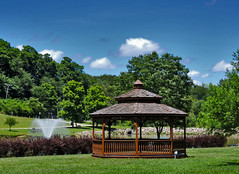 Summer Day at Indian Lake (George Neat) Tags: georgeneat patriotportraits neatroadtrips outside landscapes scenic scenery westmoreland county pa pennsylvania laurelhighlands clouds trees water indian lake north huntingdon park gazebo fountain