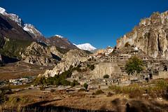 Brakka (Braga) Village (YogiMik) Tags: nepal braga brakka village sone mountain traditional annapurna yogi mik adventure travel blue sky snow caps