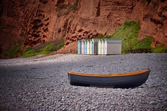 Beach huts (Nige H (Thanks for 25m views)) Tags: beach budleighsalterton boat sunlight devon england landscape cliffs