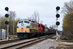 The Calgary Hiawatha (BravoDelta1999) Tags: canadianpacific cpr railroad cp rail milwaukeeroad milw railway emd gmd fp9a 1401 gp20ceco ocs officer special executive train cmsubdivision sturtevant wisconsin searchlight signal interlocking