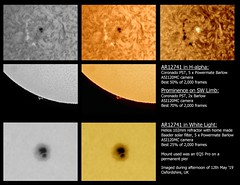 AR12741 in H-alpha & White Light + Prominence 12/05/19 (Mary McIntyre nee Spicer) Tags: sun suninhalpha suninwhitelight prominence sunspots activeregion ar12741