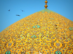 Birds fly by famous mosque dome - Sheikh Lotfollah, Isfahan, Iran (German Vogel) Tags: flying birds silkroad worldheritage unescoworldheritagesite closeup zoomin detail coloring brick islamicart islam floralpattern design pattern background bookcover muslimculture middleeastculture culturalheritage asia westasia middleeast iran islamicrepublicofiran islamicrepublic muslimworld middleeasternculture travel tourism traveldestinations touristattractions isfahan isfahanprovince architecture dome sheikhlotfollahmosque sheikhlotfollah mosque materpiece iranianarchitecture persianarchitecture art decoration mosaic
