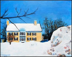 Winter Snow Storm With Snow Bank At L'Hussier Insurance Auto Home - Acrylic Painting by STEVEN CHATEAUNEUF  Painted In 2019 From My Photo Taken On February 7, 2015 (snc145) Tags: acrylicpainting winterscenery art artistic artwork winter seasons sky dusk trees branch snow snowbank snowstorm outdoor landscape scenery building blue white gold brown colors texture detail lhussierinsuranceautohome stevenchateauneuf flickrunitedaward thisisexcellent