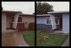 Sunnyvale, California Diptych (bior) Tags: pentax645nii pentax645 6x45cm ektachrome e200 kodakektachrome slidefilm mediumformat 120 sunnyvale street rain suburbs house yard lawn diptych architecture