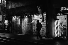 東京monochrome 2 (tomorca) Tags: man rain umbrella street alone tokyo monochrome blur blackandwhite fujifilm xt2