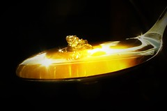 A Spoonful of Gold..x (Lisa@Lethen) Tags: macromondays aspoonful honey mm hmm macro monday teaspoon sweet sunburst sunlight black background