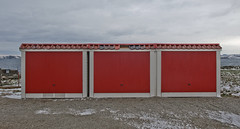 Three red doors (Anders_3) Tags: tungenes randaberg rogaland norge norway winter garage red coast nikon sea 7s68105v4 sky landscape architecture tungenesfyr tungeneslighthouse