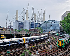 Trains and Cranes (Croydon Clicker) Tags: battersea victoria pimlico london train railway track points signals southern southeastern cranes engineshed tree sky