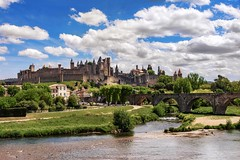 Carcassonne (tomas.jezek) Tags: carcassonne france eu europe medieval history unesco city castle town fort fortress sky clouds river bridge houses green panorama vista cityscape occitania french