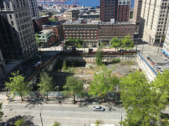 View from City Hall - 7th floor balcony (Seattle Department of Transportation) Tags: seattle sdot transportation view city hall 7th floor hole vacant block civic square someday bosadevelopment trees cherry james