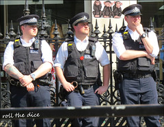 `2626 (roll the dice) Tags: london surreal fun funny people fashion reaction mad sad smile urban unaware unknown uk classic england portrait strangers candid canon tourism tourists westminster westend w1 sunny weather streetphotography uniform helmet police pc coppers arrrest seenoevil hearnoevil speaknoevil magic sign monkey buddhist culture whitehall climate protest arrest dirty extinctionrebellion cuffs look cctv bored radio overtime tattoos poppy bodylanguage flag parliament downingstreet treble cell cap spikes