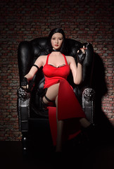 Lady in red (CU TEO MD) Tags: nikon nikond750 nikon105mm artofimages simplysuperb doll red lady woman girl gun cigar smoke sofa figure female seamlessbody figuredoll phicen tbleague