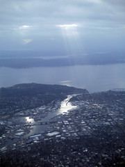 Salmon Sun (Sotosoroto) Tags: aerial washington seattle pugetsound salmonbay reflection ballard fremont magnolia