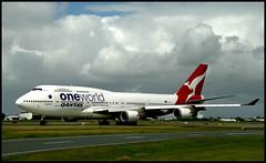 QANTAS 747-400 One World leaving Brisbane= (Sheba_Also 46000 + photos-Videos) Tags: qantas 747400 one world leaving brisbane