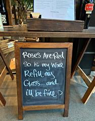 2019 Sydney: Roses are Red.... (dominotic) Tags: 2019 sign wine wineshop cafe rosesareredsoismywinerefillmyglassandillbefine cafesign yᑌᗰᗰy iphonexsmax humoroussign sydney australia