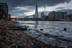 Tide (Through_Urizen) Tags: category citiestowns england hdr london places riverthames theshard travel canon70d outdoor outside architecturephotography bridge skyscraper officebuilding cityscape skyline river water thames beach debris wave sky clouds canon1585mm canon travelphotography buildings city capitalcity greatbritain uk unitedkingdom