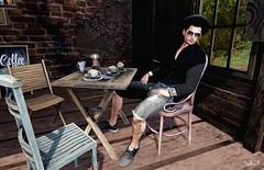 In the Morning (Sadwolf SL Photos) Tags: sneakers nativeurban accesseven tmd anthemevent etham shirt shorts hat hipster coffee shades glasses slblogger slphotographer slmodel sl secondlife avatar mesh
