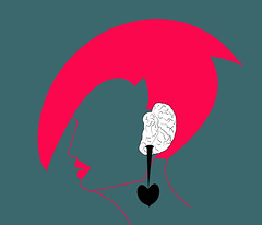 iiconceptual illustration of a woman  with a ear as a brain (illustrationvintage) Tags: concept conceptual symbol creative mind abstract design human isolated graphic brainstorm medical medicine inspiration disease health icon knowledge planning computer learn connection digital thinking think network solution education art innovation business intelligence creativity science head technology illustration idea brain funny comic ear love spiritual meditation mindful