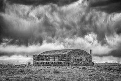 Storm Over WWII Hangar (Jeff Sullivan (www.JeffSullivanPhotography.com)) Tags: historic airport nye county nevada usa abandoned rural decay photography canon eos 5dmarkiv photos copyright jeff sullivan may 2019 adobe lightroom nik silver efex pro 2 photomatixpro hdr black white