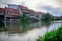 """""""Little Venice"""" or """"Klein Venedig"""" (Brett of Binnshire) Tags: shoreline sunrise plants water germany motionblur photographictechnique town on1raw manipulations landscape river locationrecorded scenic house architecture bamberg reflections bavaria franconia longexposure bayern stream christmaslights flowing decorations riverbank littlevenice clouds"""