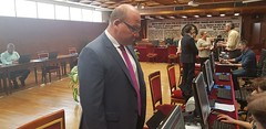 Javier Marquez Sanchez, senador electo del Partido Popular por Jaen, entrega su credencial en el Senado