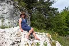 M On the rocks (piotr_szymanek) Tags: jura podlesice landscape marzka woman portrait legs feet green rock tree forest dress nobra outdoor glasses sunglasses polka 1k 20f 5k