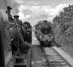 Great Central Railway Quorn Leicestershire 12th May 2019 (loose_grip_99) Tags: greatcentral railway railroad rail train gcr quorn leicestershire eastmidlands england uk blackwhite noiretblanc passing doubleheaded preservation transportation britishrailways standard5 standard2 standard 460 73156 260 78018 ivatt 2mt 46521 lms fowler 3f jinty 060t tank gassteam uksteam goods gala galore trains railways footplate may 2019