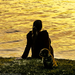 Young lady with little dog watching sunset (Steppenwolf33) Tags: sunset dog lake water lady köpenick steppenwolf33