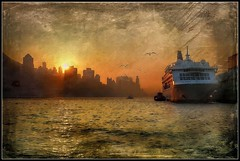 Sunset over Hong Kong Skyline and Victoria Harbour (ulli_p) Tags: asia art artofimages aworkofart buildings boat boats city colours flickraward hongkong light likeapainting sea southeastasia skyline victoriaharbour texture textured texturedphoto