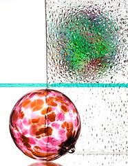 Colour Bomb (Karen_Chappell) Tags: colour white glass reflection refraction ball orb sphere pink pastel green texture circle round two 2 stilllife abstract color colours colors colourful multicoloured