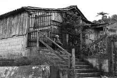 1690 (tatiana barthem) Tags: old blackwhite blackandwhite man bw monochrome people house grey tonsdecinza monocromatico solitary abandoned ouropreto minasgerais serious photoart art conceptart oldman idoso barraco wood escada