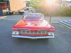 Red Chevrolet (mtbboy1993) Tags: opencamera gimp rawtherapee car musclecar red askim byrommet norway norge carmeet americanstreetcarsaskim stairs cityplaza plaza asphalt evening front