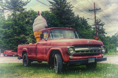 Big Lick (* Gemini-6 * (on&off)) Tags: cone icecream vignette vintage red truck trees ford vehicle transportation pickup hdr hss