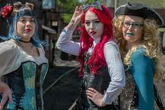 Steam Punk Girls (nickym6274) Tags: nenevalleyrailway nenevalley peterborough uk wansfordstation nvr steampunk jessmann elecrikkdoll cherwass girls ladies redhair blue goggles hat trio