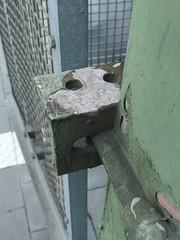 Found Pylon Face (mkorsakov) Tags: münster hbf bahnhof mainstation strommast pylon foundface rost rust grün green