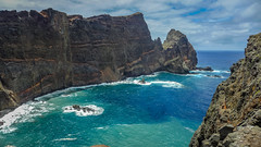 The steep cliffs of Madeira (RIch-ART In PIXELS) Tags: madeira portugal atlantic ocean sea water leicadlux6 dlux6 leica landscape cliff rockformation coast shore sky cloud waves pontadesãolourenço