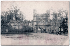Battle Abbey - Front Façade of Gateway (pepandtim) Tags: postcard old early nostalgia nostalgic battle abbey 22bat69 jws benedictine sussex hastings