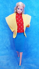 Barbie Bright & Breezy / Mix & Match Harmonie #4529 from 1987 (VintageZealot) Tags: barbie mattel bright breezy mix match harmonie day to night 4529 7929 1984 1987 80s 1980s vintage retro fashion doll clothing clothes outfit superstar super star model modelling taiwan blonde caucasian plastic snaps elastic jewelry brass gold ring earrings earring hoop shirt top blouse sleeveless polka dots knit skirt jacket coat blazer lapels pumps yellow blue teal green red purple
